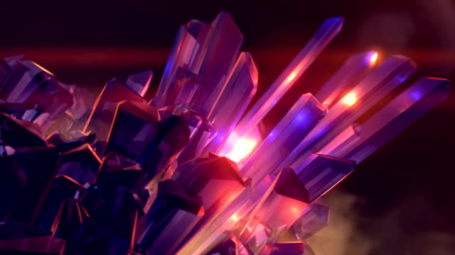 magic crystal emitting a streams of energy. 3d rendering abstract background with a depth of field. 4k, ultra hd resolution - fantasy stock videos & royalty-free footage