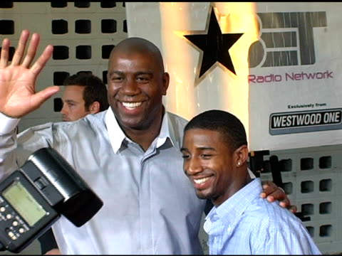 magic johnson and his son andre johnson at the 'king's ransom' los angeles premiere at the cinerama dome at arclight cinemas in hollywood california... - magic johnson stock-videos und b-roll-filmmaterial