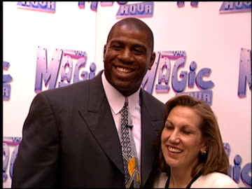 stockvideo's en b-roll-footage met magic johnson at the natpe convention on january 20, 1998. - natpe convention