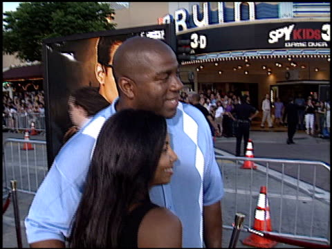 magic johnson at the 'swat' premiere on july 30, 2003. - s.w.a.t. film title stock videos & royalty-free footage