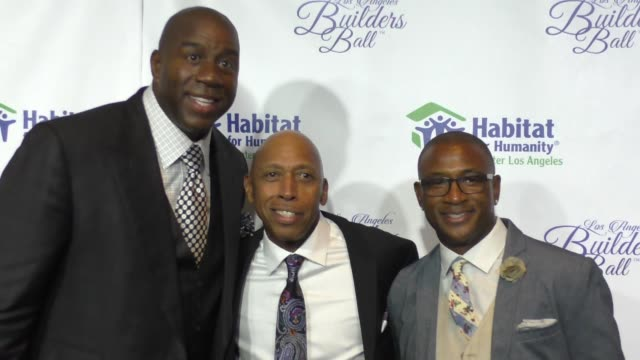magic johnson jeffrey osborne tommy davidson at the habitat for humanity of greater los angeles builders ball at beverly wilshire four seasons hotel... - magic johnson stock videos and b-roll footage