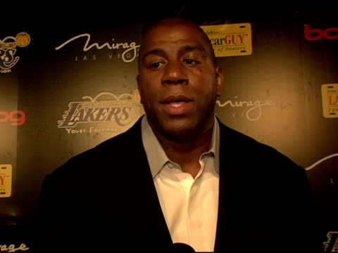 magic johnson on the lakers foundation getting involved and contributing to local causes and causes on behalf of children at the la lakers 3rd annual... - magic johnson stock videos and b-roll footage