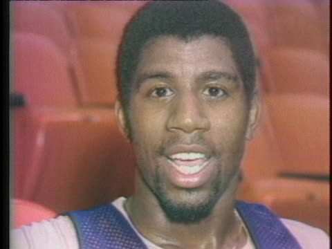 magic johnson says his knee injury has turned out to be a learning experience. - sport stock videos & royalty-free footage