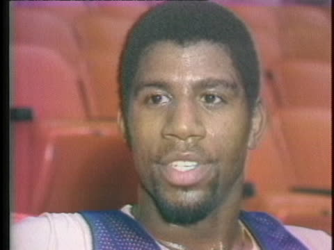 magic johnson talks about his knee injury. - sport stock videos & royalty-free footage