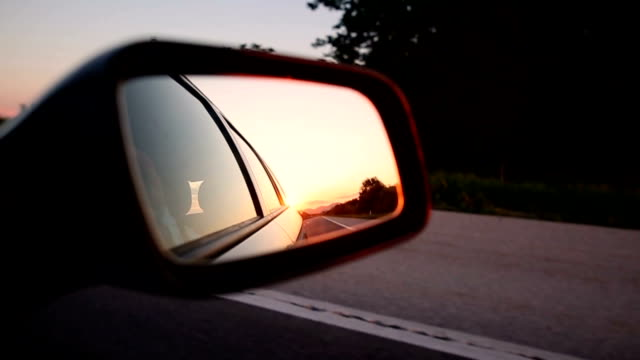 magic sunset - rear view mirror stock videos & royalty-free footage