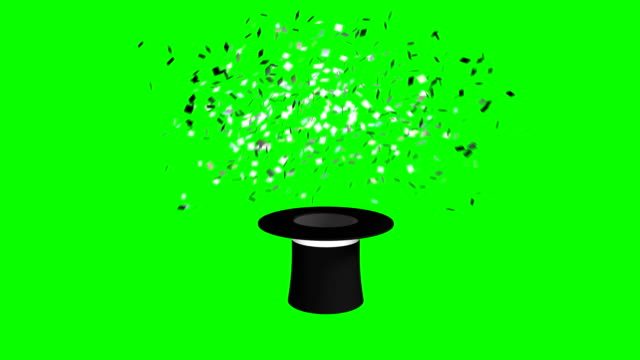 magician hat and wand exploding confetti green screen separate elements - casino icon stock videos & royalty-free footage