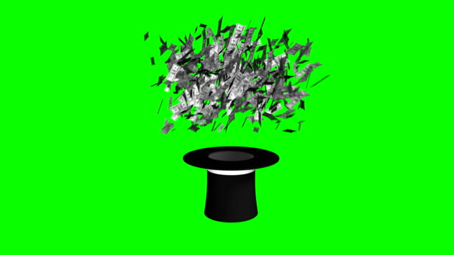 magician hat and wand exploding dollars green screen separate elements - casino icon stock videos & royalty-free footage