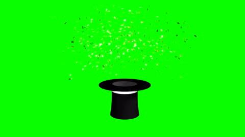 vídeos de stock, filmes e b-roll de chapéu mágico e varinha explodindo estrelas green screen separar elementos - truque de mágica