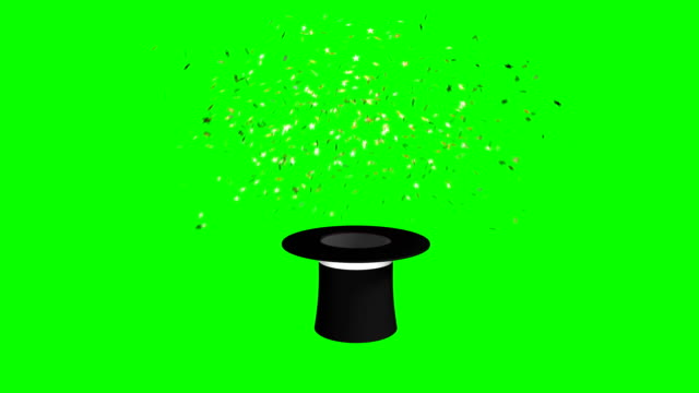 magician hat and wand exploding stars green screen separate elements - magic trick stock videos & royalty-free footage