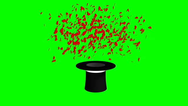magician hat and wand green exploding hearts screen separate elements - casino icon stock videos & royalty-free footage