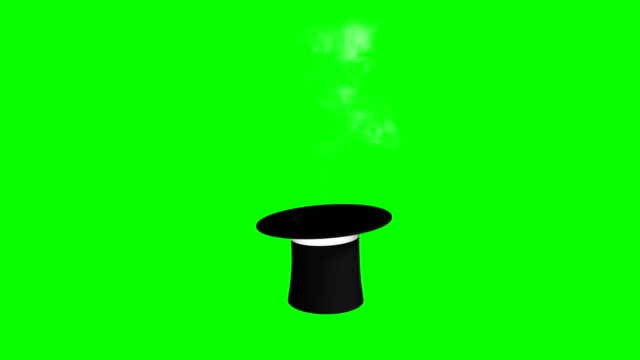 magician hat and wand puffing smoke green screen separate elements - casino icon stock videos & royalty-free footage
