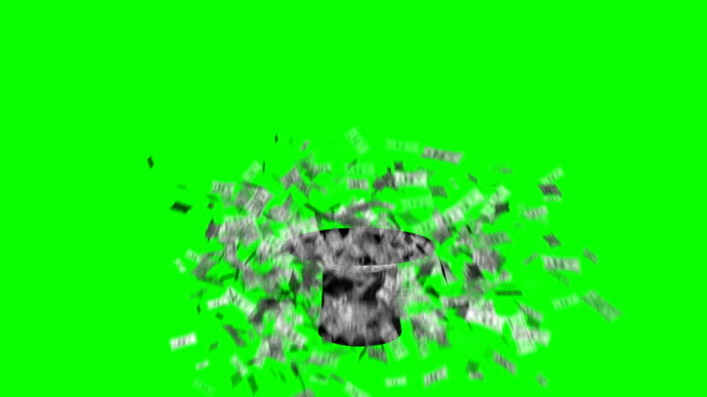 magician hat exploding dollars green screen separate elements - casino icon stock videos & royalty-free footage
