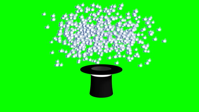 magician hat exploding like icons green screen separate elements - casino icon stock videos & royalty-free footage