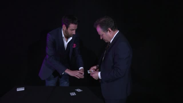 london int various of reporter and magician jamie raven as he recreates paul daniels favourite disappearing card trick and jamie raven interview sot - paul daniels stock videos and b-roll footage
