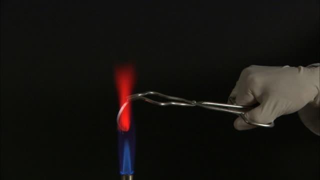 Magnesium ribbon burning in a bunsen flame