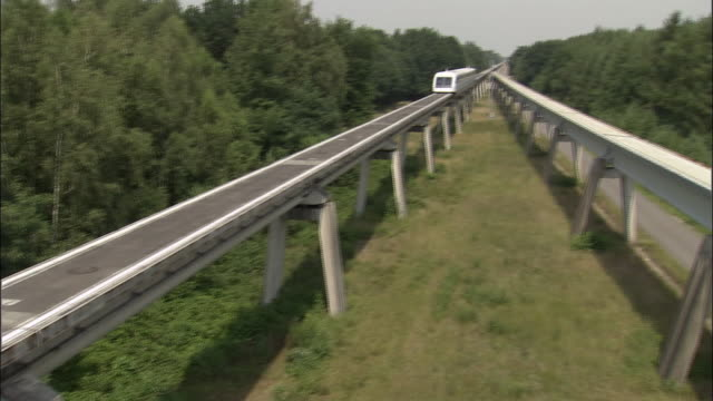 ms, cs, magnetic levitation train (maglev) train gliding through countryside, germany - 2006 stock videos & royalty-free footage