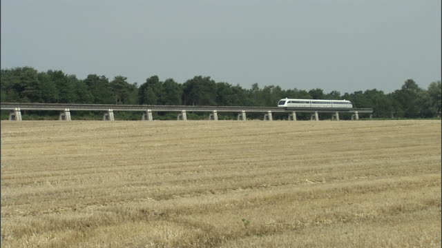 WS, TS, Magnetic levitation train (Maglev) train gliding through fields, Germany
