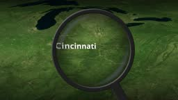 Magnifying glass finds Cincinnati city on the map, 3d rendering