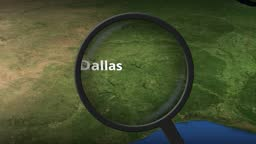 Magnifying glass finds Dallas city on the map, 3d rendering