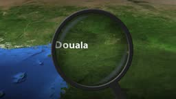 Magnifying glass finds Douala city on the map, 3d rendering