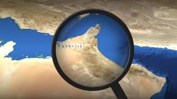 Magnifying glass finds Dubai city on the map, 3d rendering