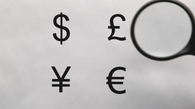 magnifying glass over currency symbols - currency symbol stock videos & royalty-free footage