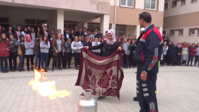 a 55 magnitude earthquake hits adiyaman province of turkey when firefighters practice a fire and earthquake drill with students of mehmet akif ersoy... - fire drill stock videos & royalty-free footage