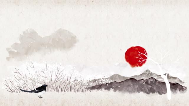 magpie walking on tiptoe - capodanno coreano video stock e b–roll