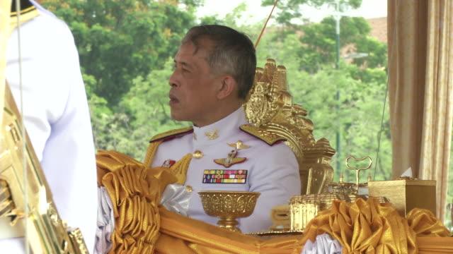 maha vajiralongkorn bodindradebayavarangkun the new king of thailand and queen suthida precide over the annual royal plowing ceremony in bangkok. - king royal person stock videos & royalty-free footage