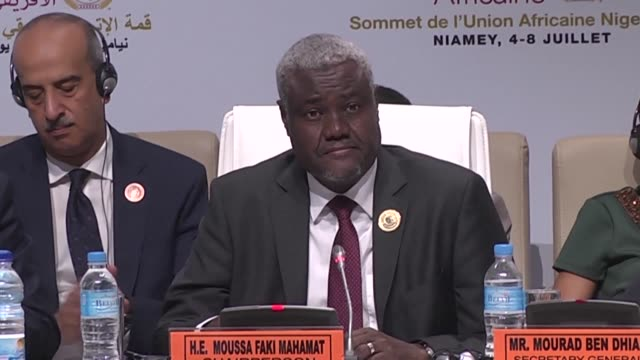 mahamadou issoufou president of niger and moussa faki mahamat president of the african union commission praise the launch of the historic african... - mahamadou issoufou stock videos and b-roll footage