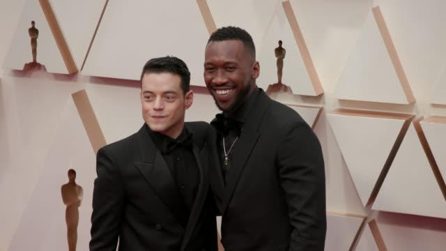 mahershala ali and rami malek at the 92nd annual academy awards at the dolby theatre on february 09, 2020 in hollywood, california. - the dolby theatre stock videos & royalty-free footage