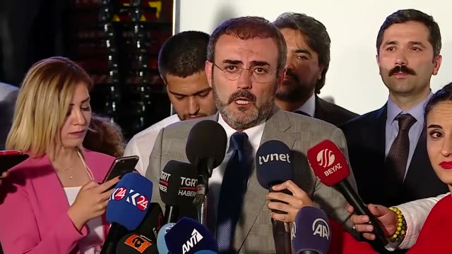 Mahir Unal spokesman of Turkey's ruling Justice and Development Party speaks to the media on June 24 2018 in Ankara Turkey Turkey's ruling Justice...