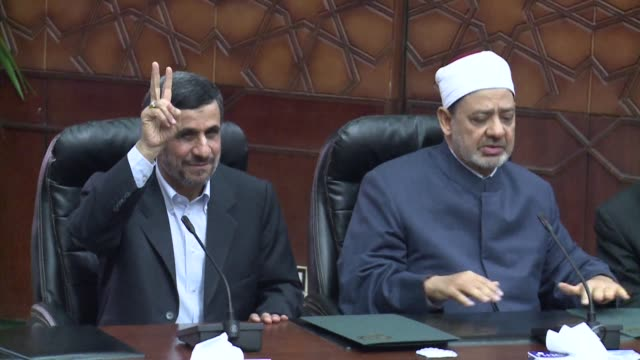 mahmoud ahmadinejad president of country with the worlds largest shiite population visited the prestigious al azhar institute of sunni islam during... - shi'ite islam stock videos & royalty-free footage