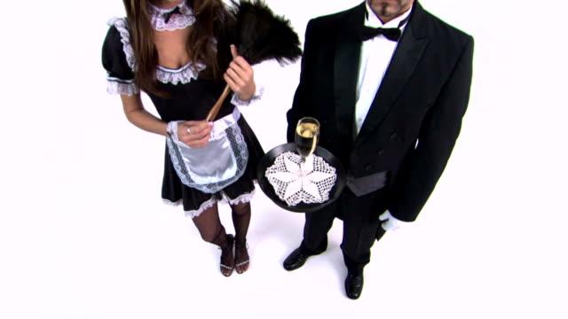 vídeos de stock, filmes e b-roll de maid and butler - mordomo equipe doméstica