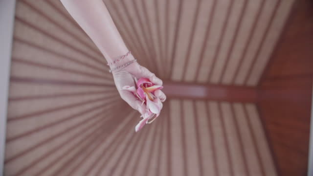 a maid housekeeper dropping flower petals on a bed at a villa resort hotel room in exotic tropical bali, indonesia. - サービス業関係の職業点の映像素材/bロール