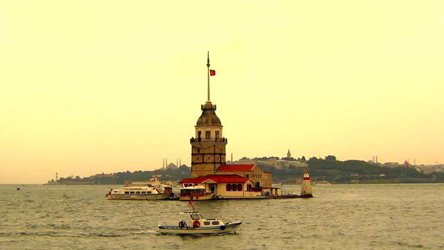 maiden tower - bosphorus stock videos and b-roll footage