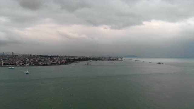 maiden's tower in istanbul aerial view - byakkaya stock videos and b-roll footage