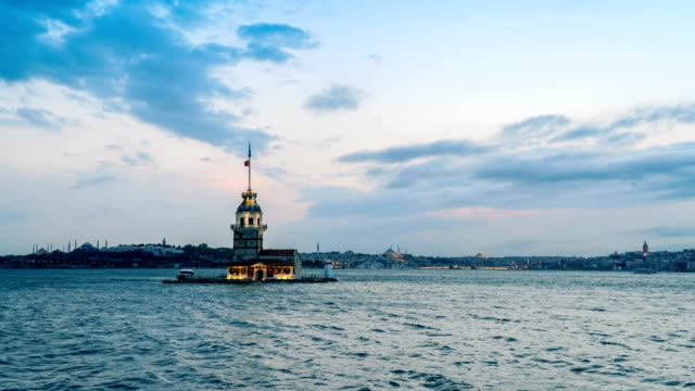 4k: maiden's tower, time lapse - ottoman stock videos and b-roll footage