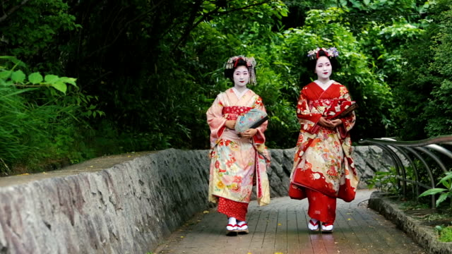 Maiko Apprentice Geisha Japanese Women In Traditional Kimonos
