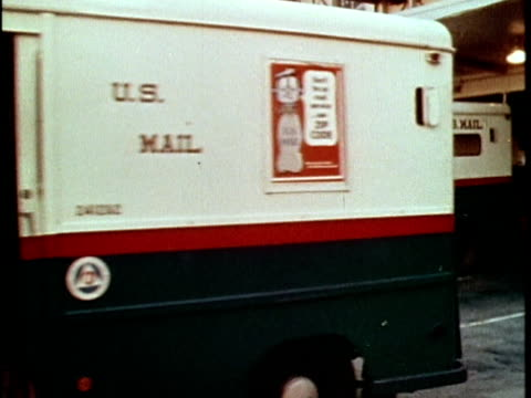 1970 montage mail delivery truck at loading dock at post office, los angeles, california, usa, audio - united states postal service stock videos & royalty-free footage
