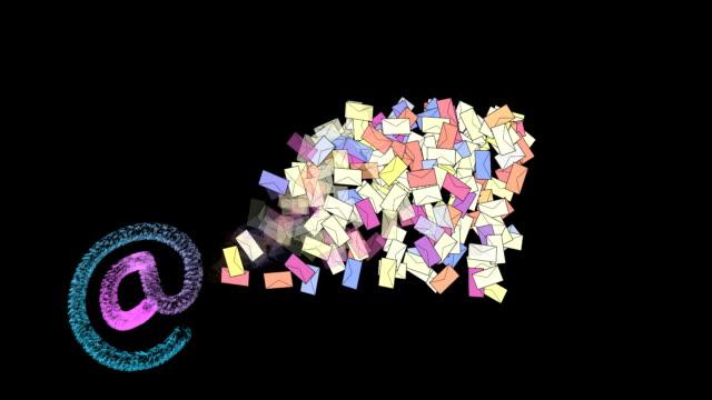 vídeos y material grabado en eventos de stock de buzón de cartas completo. - símbolo de arroba