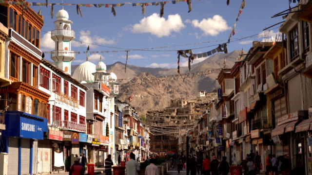 main bazar street in leh city, ladakh - tourist stock videos & royalty-free footage