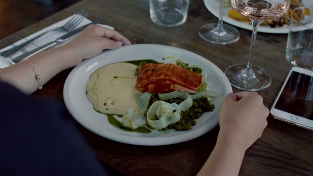 main course at the restaurant - salmon - main course stock videos & royalty-free footage