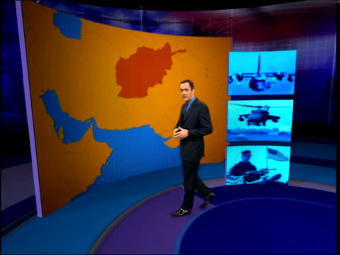 Main events/UK troops speculation ITN ENGLAND London INT i/c with VIRTUAL REALITY GRAPHICS explaining US special forces operations