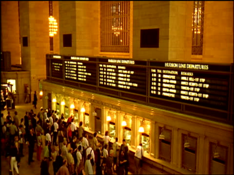 main hall of grand central station ticket queues new york city - ticket counter stock videos & royalty-free footage
