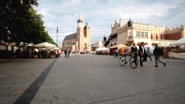 main market square of krakow - old town stock videos & royalty-free footage
