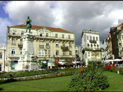 main plaza in coimbra portugal - male likeness stock videos & royalty-free footage