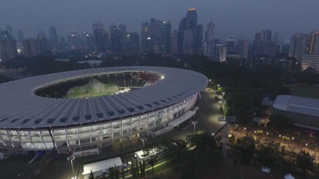 gbk main stadium, main venue of 2018 asian games,, moving backward - doha stock videos & royalty-free footage