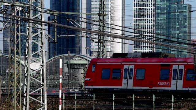 Main station Frankfurt am Main with skyline and moving train