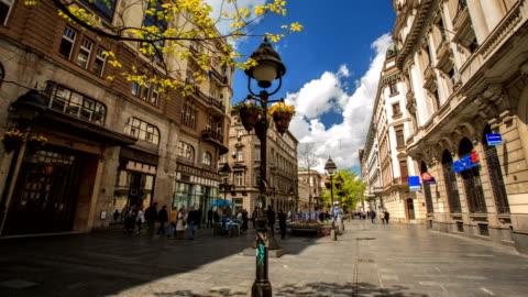 main street in belgrade hyperlapse - pedestrian zone stock videos & royalty-free footage